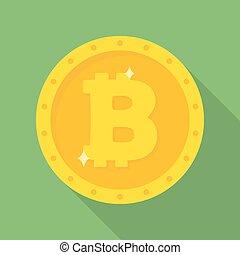 Gold Bitcoin coin icon.