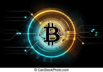 Gold bitcoin. Mining business symbol, internet exchange...