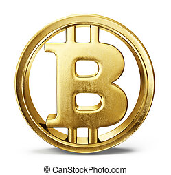 bitcoin - gold bitcoin sign isolated on a white backgrond. ...