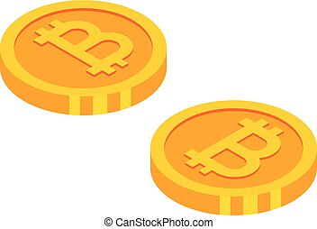 Gold bitcoins cryptocurrency coins. Money icon in isometric style.