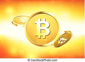 Gold bitcoins on orange background. - Gold bitcoins on...