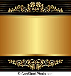 gold black background with floral ornaments