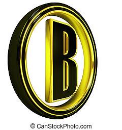 Gold Black Font Letter b