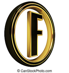 3D Letter f in circle. Black gold metal