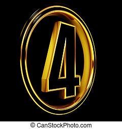Gold Black Font Letter four
