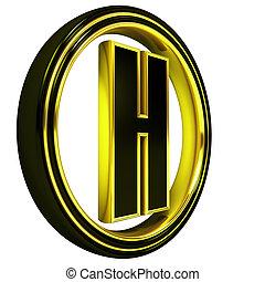3D Letter h in circle. Black gold metal