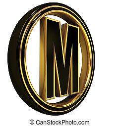 Gold Black Font Letter m - 3D Letter m in circle. Black gold...