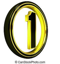 Gold Black Font Letter one