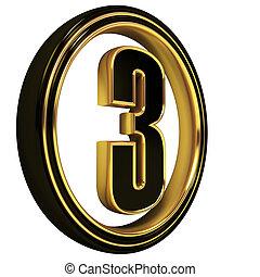 Gold Black Font Letter three