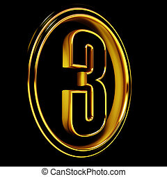 Gold Black Font Letter three