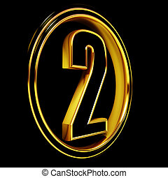 Gold Black Font Letter two