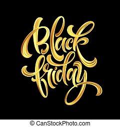 Gold Black Friday Sale calligrapy lettering. Vector illustration