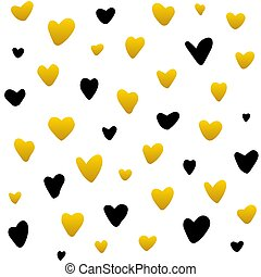 Gold Black Hearts Handdrawn Seamless Pattern