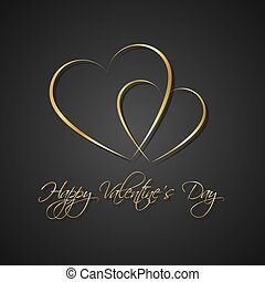 Gold black simple Happy Valentines day card with two heart, Be my Valentine background, vector illustration