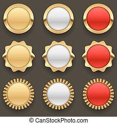 Gold blank badges set.
