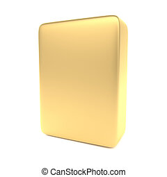 Gold blank box isolated on white