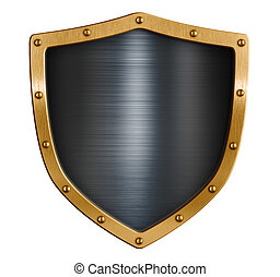 Gold blank metal shield isolated 3d illustration