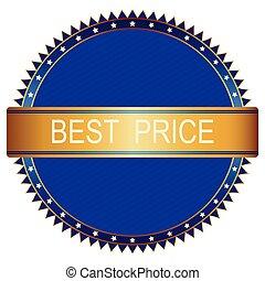 Gold blue best price badge