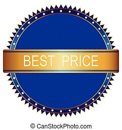 Gold blue best price badge