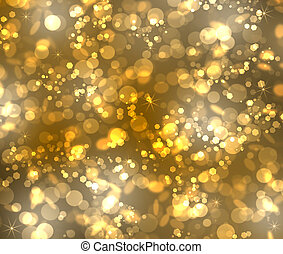 Gold bokeh from stars, rounds and hexagonals