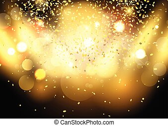 gold bokeh lights background with confetti 0703