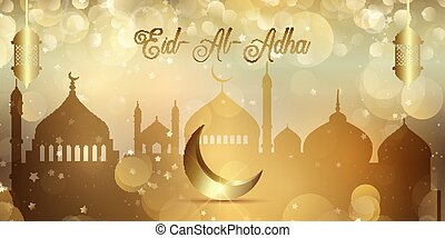 Eid Al Adha banner with gold bokeh lights design
