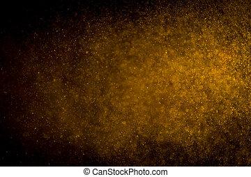 Gold bokeh on black