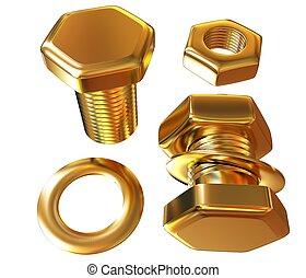Gold Bolt with nut. 3d illustration