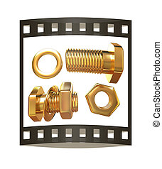 Gold Bolt with nut. 3d illustration. The film strip.