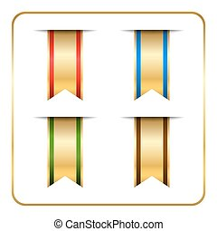 Gold bookmark banners set