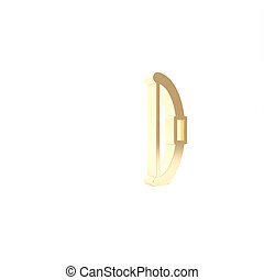 Gold Bow icon isolated on white background. 3d illustration 3D render