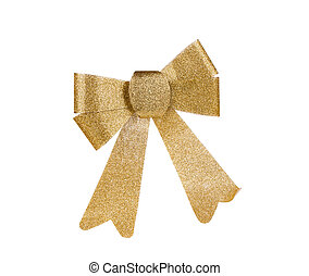 Gold bow isolated