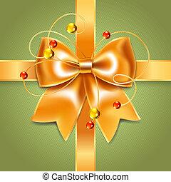 Gold bow of silk ribbon