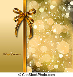 Gold bow on a magical Christmas card. Vector