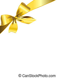 gold bow, on a white