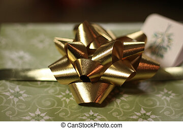 Gold Bow on gift