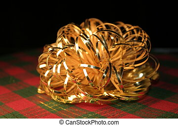 Gold Bow on Plaid
