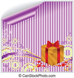 Gold box on purple sticker