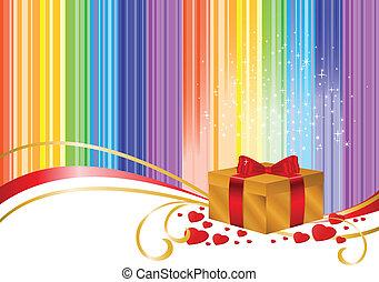 Gold box on rainbow background