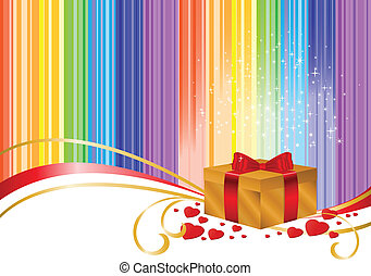 Gold box on rainbow background
