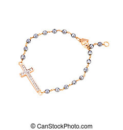 Gold Bracelet with a cross isolated.