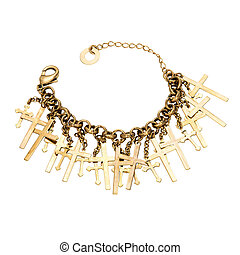Gold Bracelet with a cross isolated