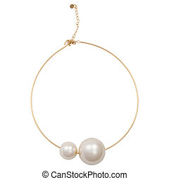 Gold bracelet with detail without pearl isolated on white background.