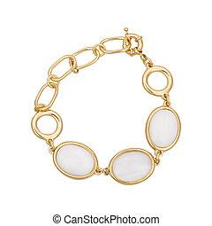 Gold bracelets with gemstone isolated on white background