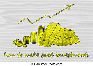 gold brick and coins, how to make good investments