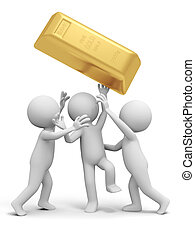 gold brick - Gold,money,three people are fighting for a gold...