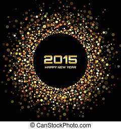 Gold Bright New Year 2015 Background, vector illustration