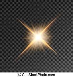 Gold bright star light flash. Shining luminous golden beams....