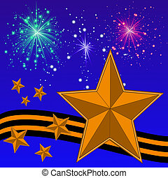 gold bright stars, yellow-black ribbon and banger on a background blue sky