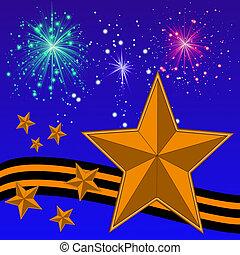 gold bright stars, yellow-black ribbon and banger on a...
